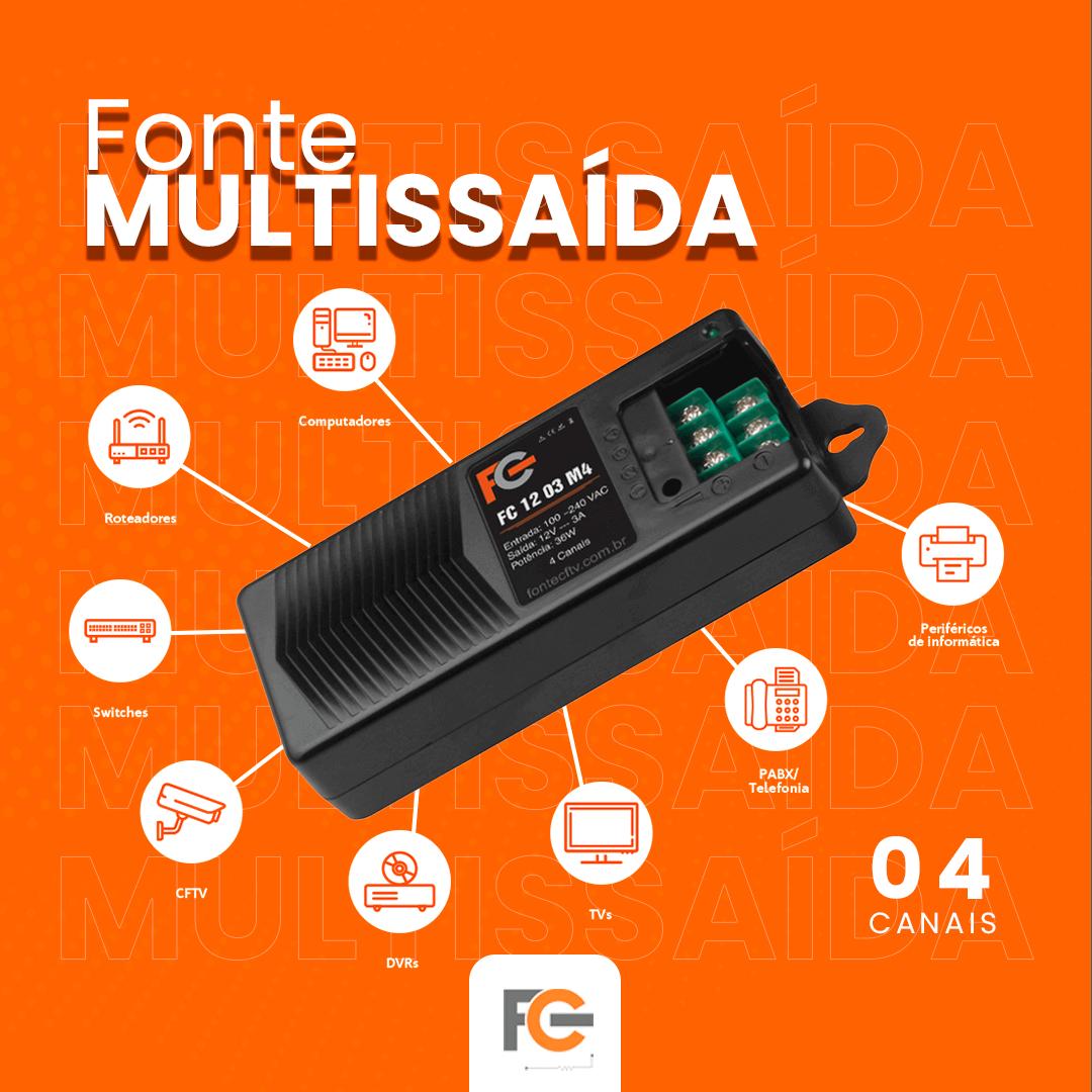 Fonte Multissaída 12v 5A / 3A
